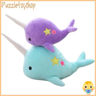 Cartoon Narwhal Shape Stuffed Soft Plush Doll Toy for Kids Lovers Decoration