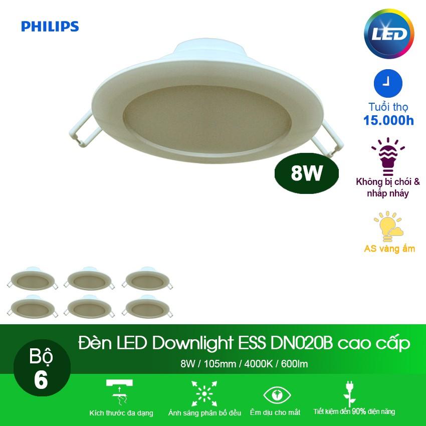 Bộ 6 bóng Đèn Philips LED Downlight âm trần DN020B 8W 4000K - Ánh sáng trung tính