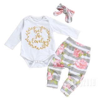 Mu♫-3PCS Newborn Baby Girl Cotton Romper Bodysuit Floral Leggings Pants Clothes