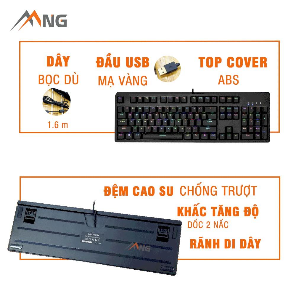 Bàn phím máy tính E-Dra EK3104, cơ, quang, có dây, có led, phù hợp chơi game, văn phòng