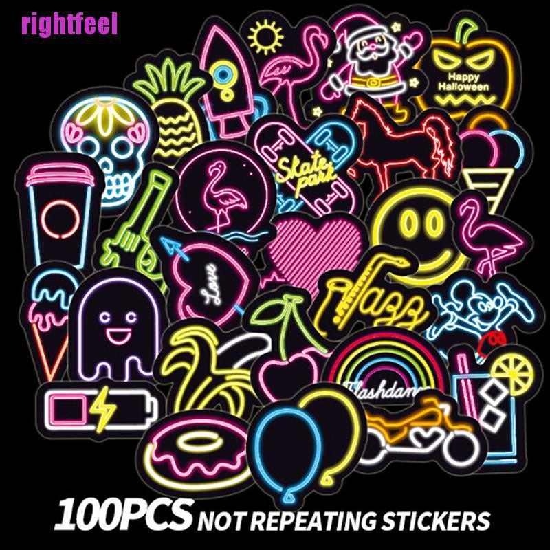 Set 100 Miếng Dán Màu Neon Dễ Thương Dùng Trang Trí Vali Laptop