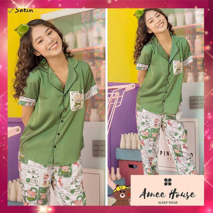 Đồ bộ mặc nhà pijama nữ lụa satin Tay Ngắn Quần Dài GẤU FREESIZE dưới 60kg, vải mềm mịn thoáng mát  Amee House
