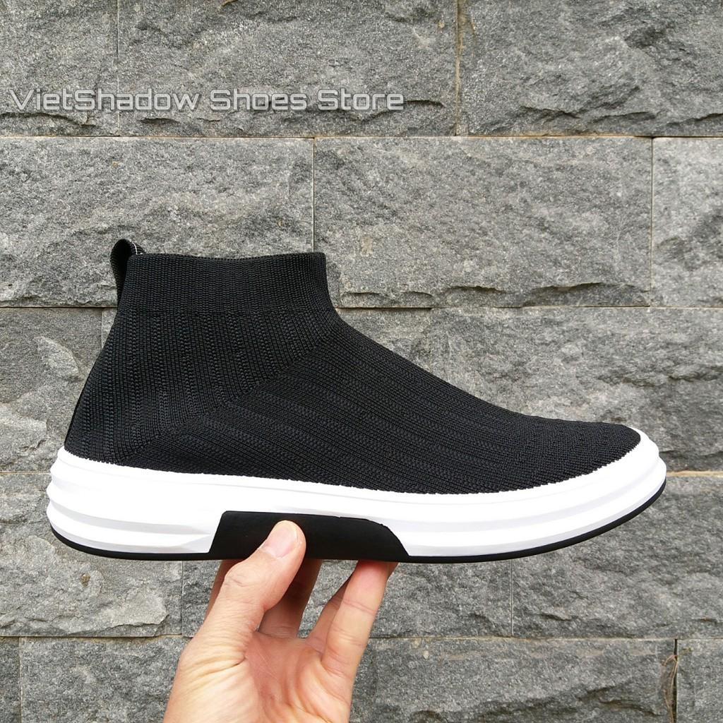 Giày thể thao lười cao cổ - Vải dệt kim 3D màu đen - Mã SP: 8020-đen