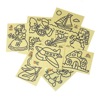 KJ♠ 10pcs Kids DIY Color Sand Painting Art Creative Drawing Toys Sand Paper Crafts