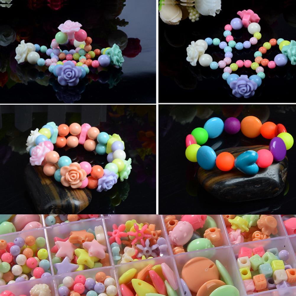 Set 1100 hạt cườm nhiều màu dùng làm đồ chơi vòng tay trang sức đa năng cho trẻ em DIY