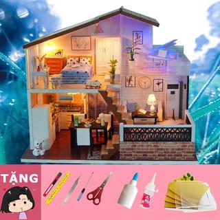 Mô Hình Nhà Gỗ DIY Ánh sáng pha lê