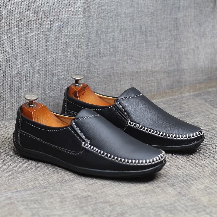 Giày lười nam da mềm đế cao su được khâu chắc chắn L05
