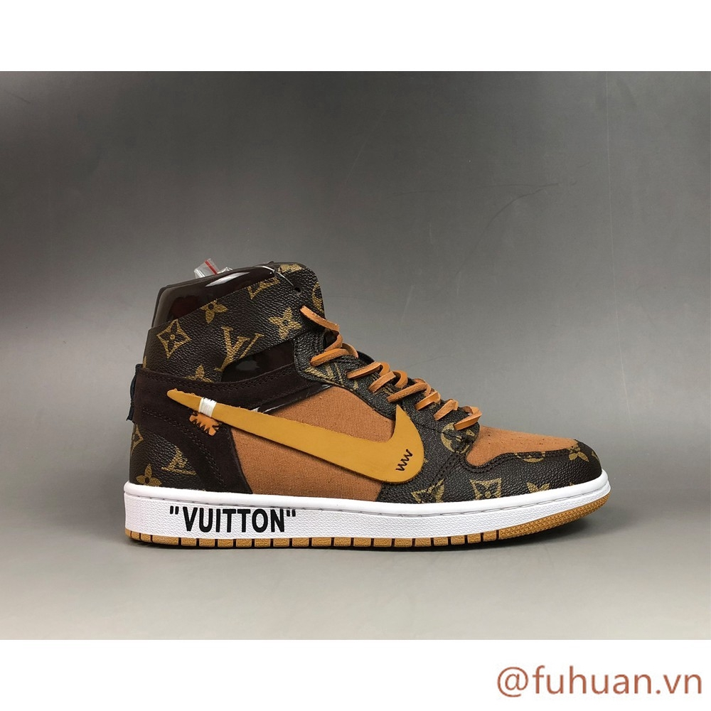 fuhuan* OFF-WHITE x Air Jordan 1 Custom Brown Beige cỡ 40-46 boys