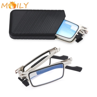 MOILY Fashion Foldable Reading Glasses Portable Readers Glasses with Case Blue Light Reading Glasses Anti UV400 Women Men Anti Eyestrain Compact Presbyopia Eyeglasses