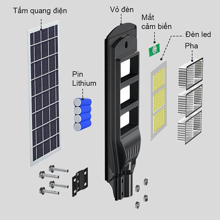 Đèn năng lượng mặt trời đường phố sân vườn cảm biến công suất 60W