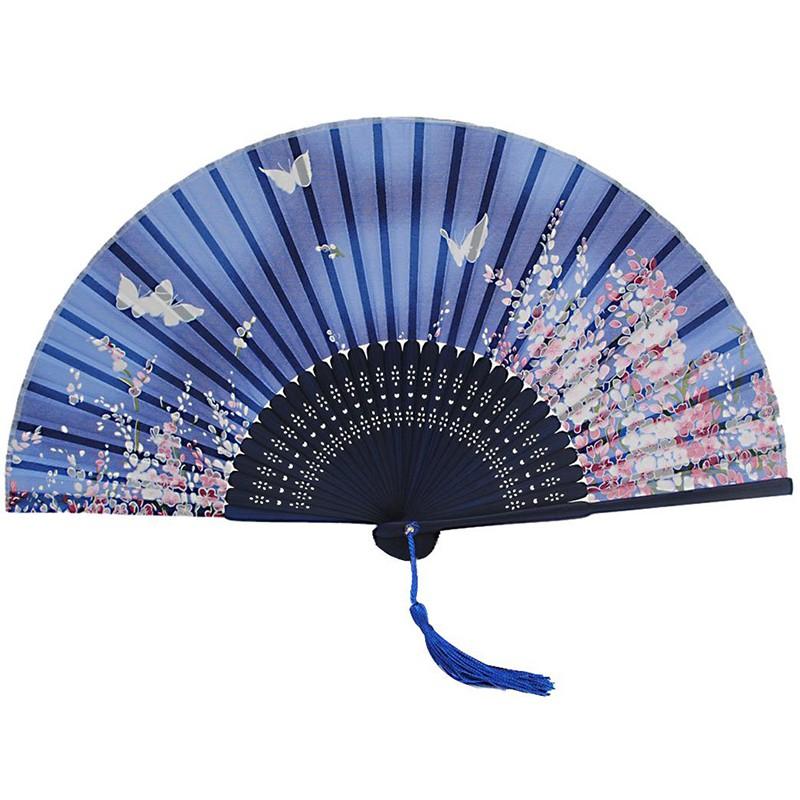 Japanese Folding Blue Butterfly Silk Hand Flower Bamboo Asian Pocket Fan