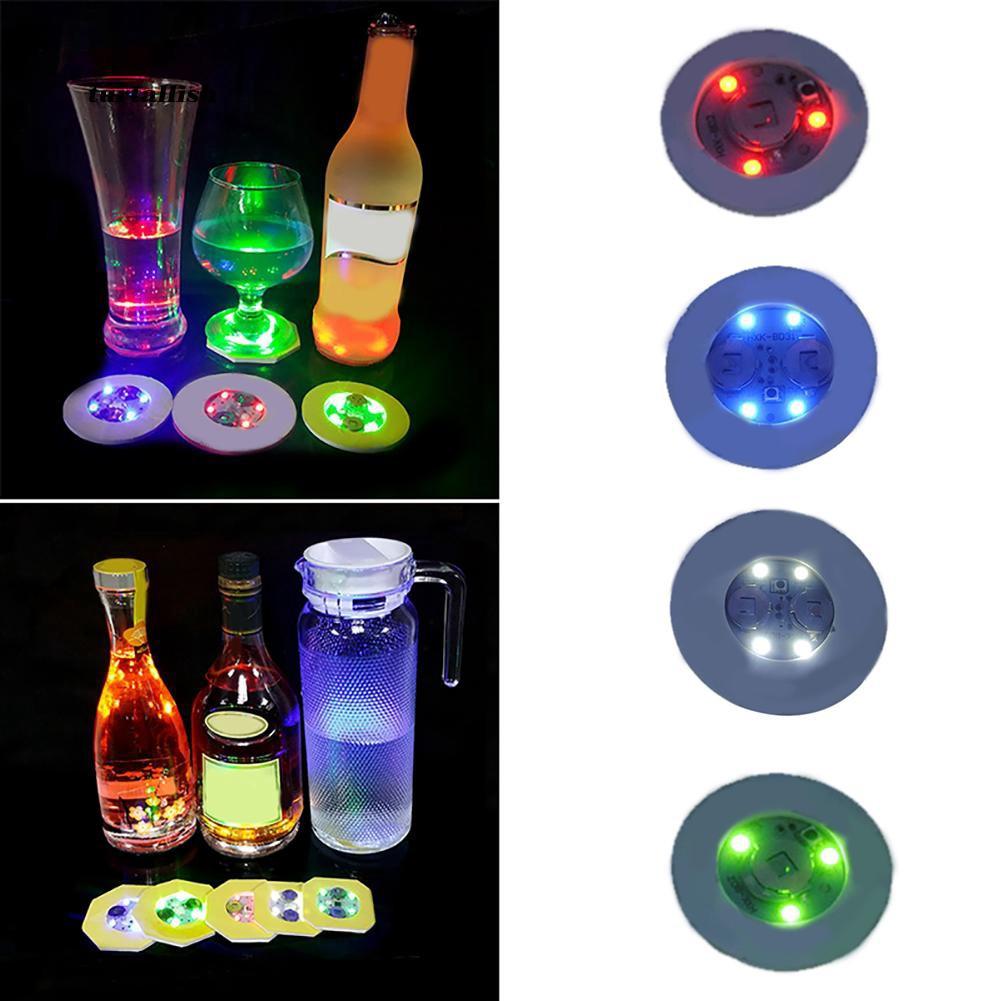 TTSL_Fashion Luminous Bottle LED Light Cup Sticker Mat Bar Club Party Coaster Decor