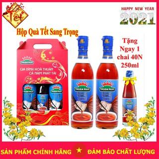 [Hộp quà tết 2020] Gồm 3 chai nước mắm cá cơm Thuận phát 40 độ đạm (620ml x 2 + 250ml)