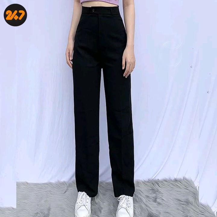 Quần ống rộng lưng cao kiều Hàn Quốc cho nữ