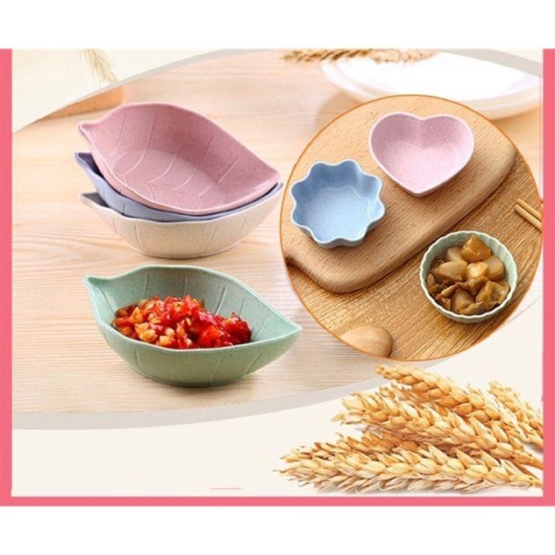 (HCM) Chén lúa mạch ADKN/chén đựng nước chấm - Hình trái tim, hoa, hình tròn, chiếc lá màu sắc dễ thương bắt mắt
