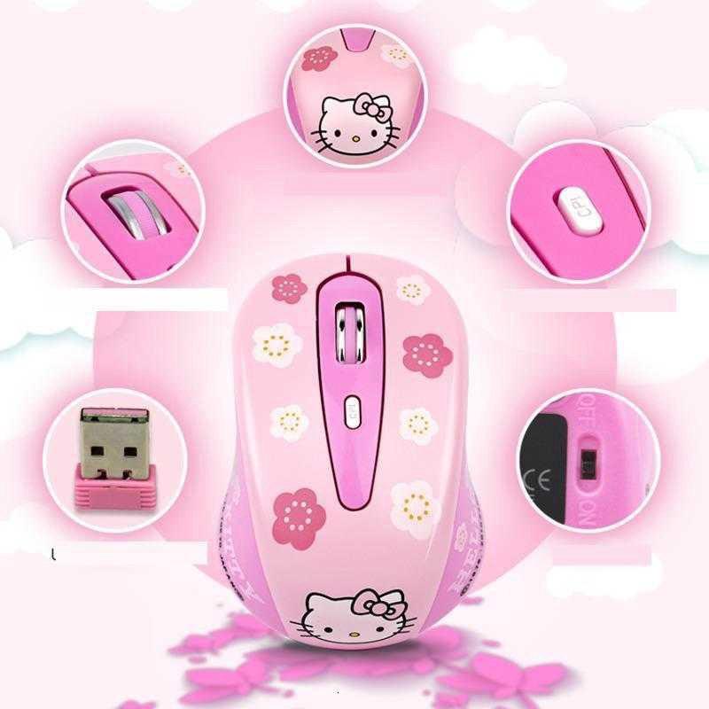 Chuột Không Dây Mini Hình Hello Kitty Dễ Thương 1600dpi Pc 2.4ghz