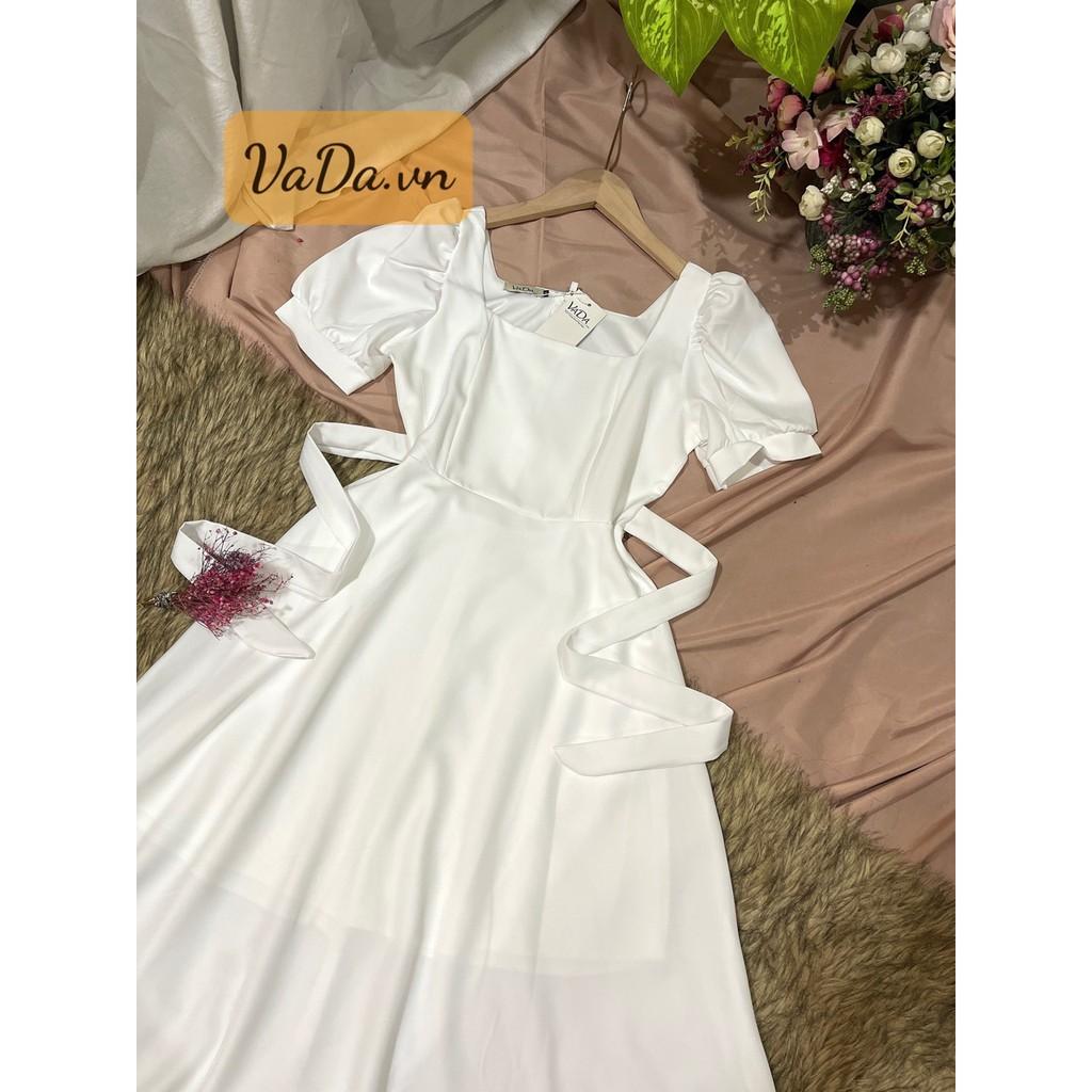 Mặc gì đẹp: Sang chảnh với Đầm dự tiệc tay ngắn 2021 màu đen, trắng, đỏ, cổ vuông siêu xinh dễ thương - Thời trang VADA - Đ998