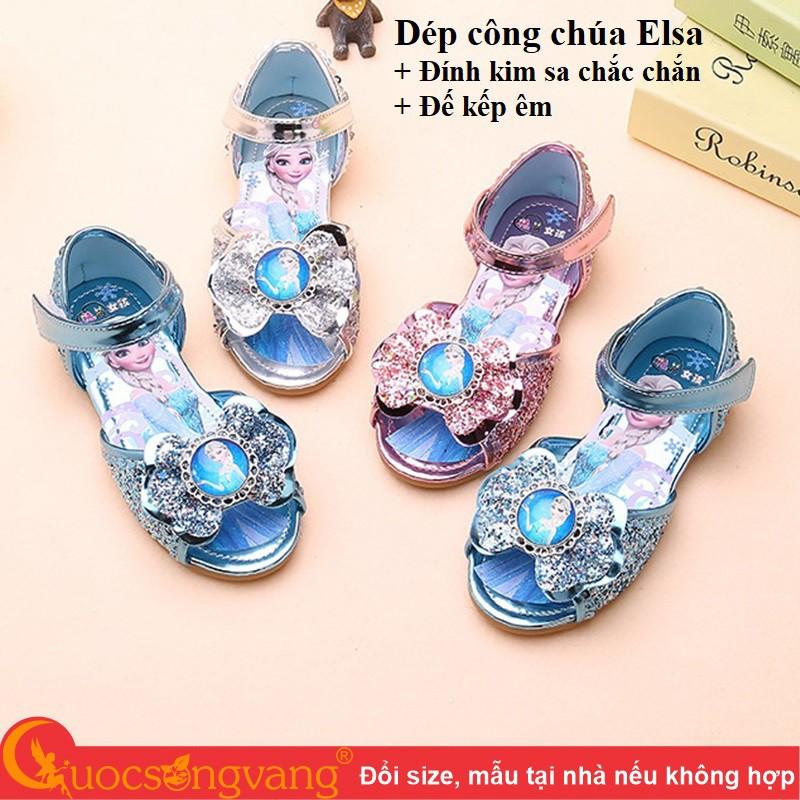 Video Dép công chúa elsa dép bé gái đính kim sa GLD056 Cuocsongvang