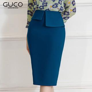 GUCO - Chân váy nữ công sở màu xanh dương kiểu dáng đặc biệt CV123 thumbnail
