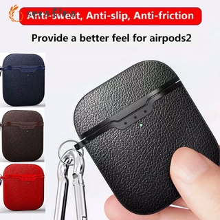 blue bluetooth earphone bluetooth headset airpod For Airpods 2 Case Litchi Leather Pattern Soft TPU Bluetooth Wireless Earphone Protective Skin Case for Airpods Charging Box