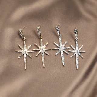 【THEO DÕI cửa hàng của chúng tôi -10K trừ 5K】Bông tai dài ngôi sao tám cánh kim bạc 925 hàn quốc