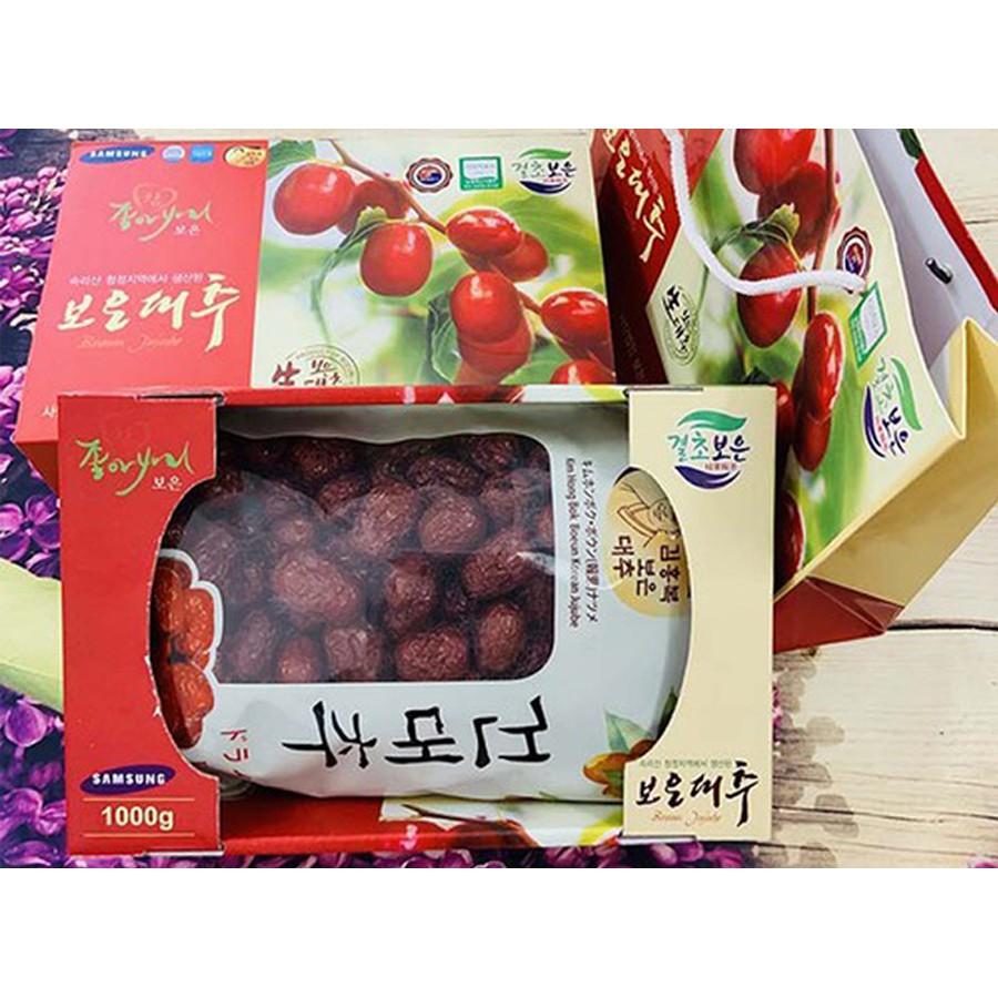 Táo đỏ Hàn Quốc sấy khô hộp 1kg, quả to, HSD 10. 2023, tặng kèm túi đựng  quà, Giá tháng 11/2020