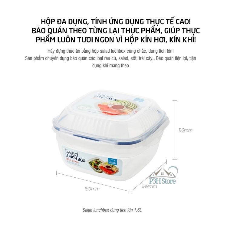 Hộp Salad Lock&Lock kèm khay nước sốt 950ml ,1.6L HSM8440T HSM8450T