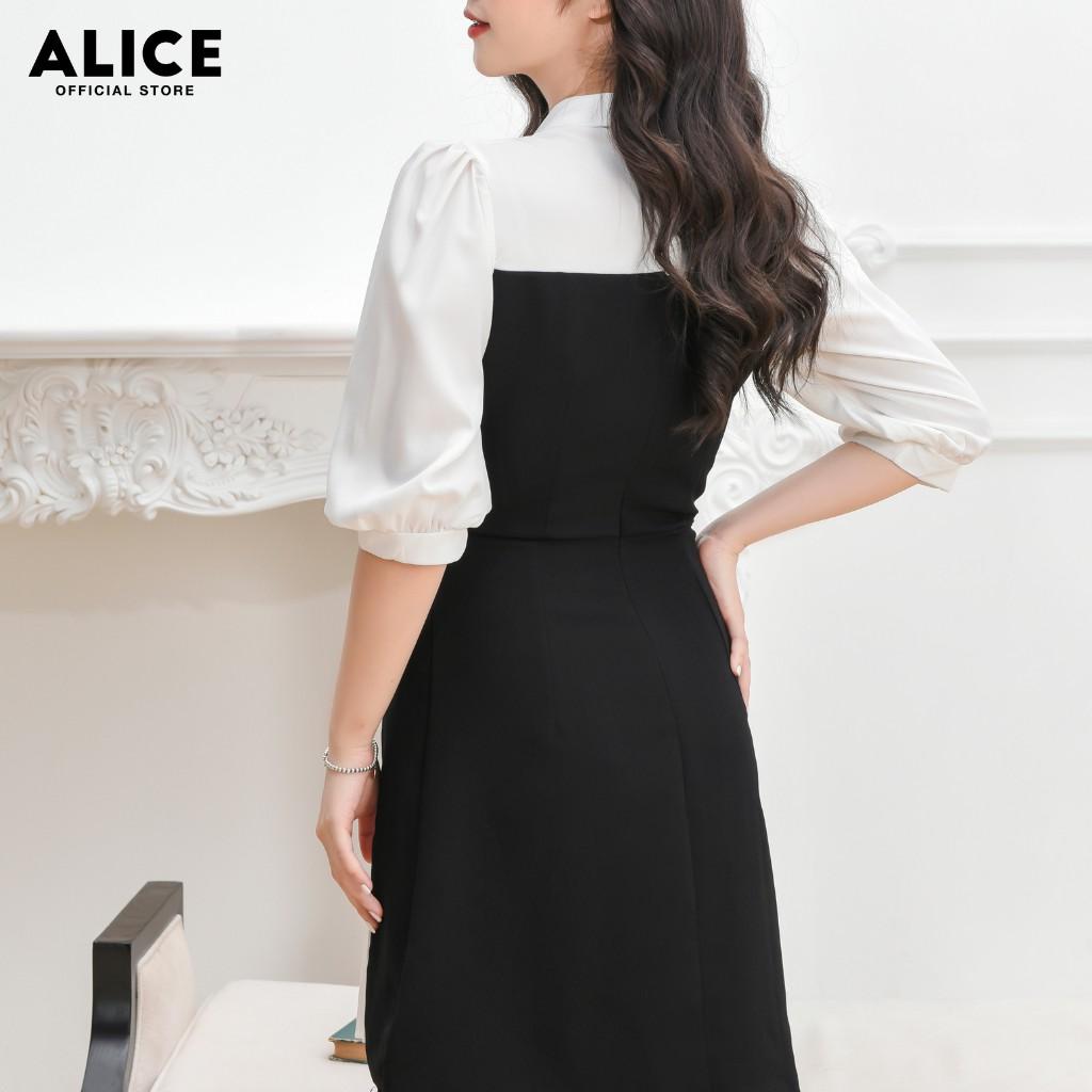 Mặc gì đẹp: Sang trọng với Đầm Suông Công Sở Nữ Đẹp ALICE Thiết Kế Cổ Sơ Mi Chân Váy Phối Dập Ly Sang Trọng, Thanh Lịch V691