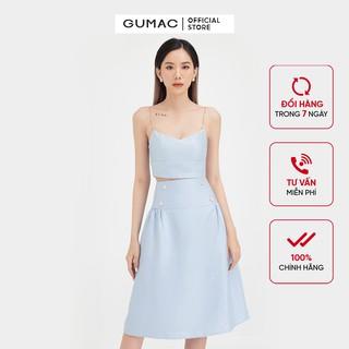 Chân váy nữ dáng dài phối nút GUMAC màu xanh trơn thanh lịch VB490