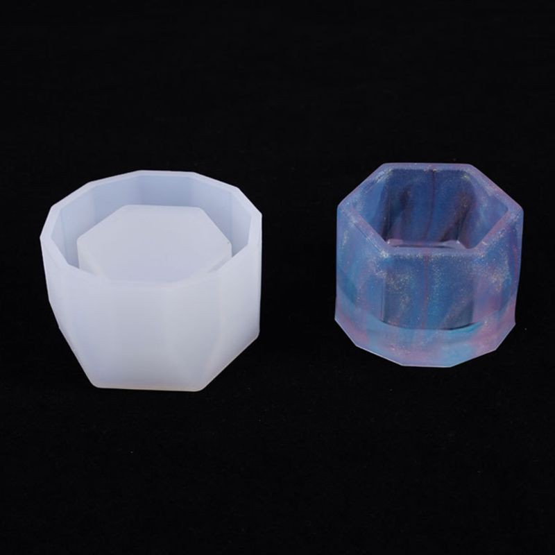 J Crystal Epoxy Resin Mold Hexagon Cup Casting Silicone Mould Craft Making Tool
