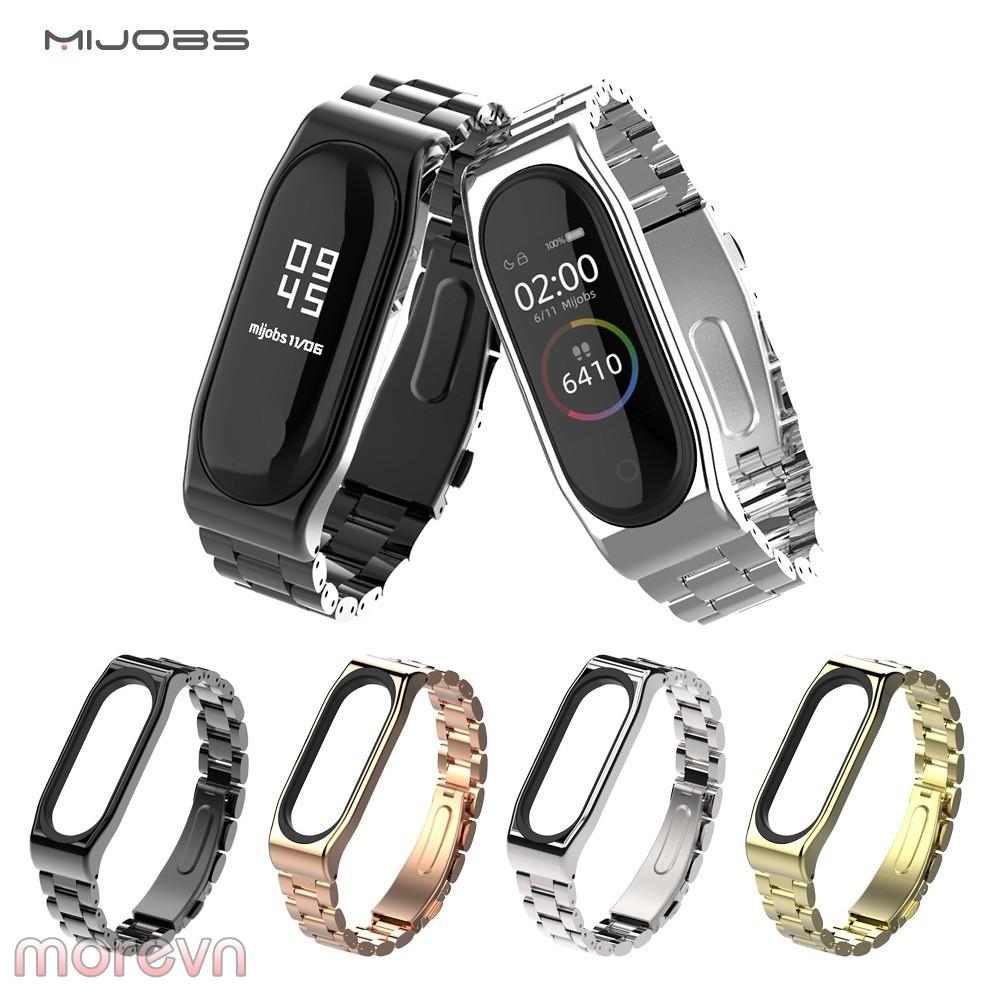 Dây đeo kim loại mắt to Mi band 5 chính hãng Mijobs - dây đeo kim loại  thay thế miband 5, mi band 5 (Mijobs)
