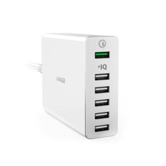 Sạc Anker PowerPort+ 6 cổng 60w Quick Charge 3.0 có PowerIQ (Trắng)