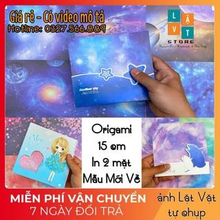 [Mẫu mới về] Giấy gấp Origami 15 cm hàng mới về Việt Nam – Gấp quạt giấy kiểu Trung Hoa, in laser 2 mặt FULL HD