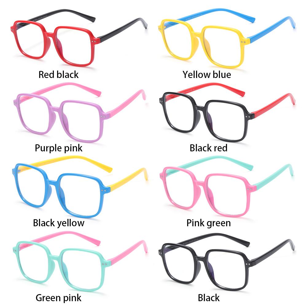 ROW for Boys Girls Nerd Eyeglasses Silicone TV Phone Glasses Kids Blue Light Glasses Anti-eyestrain Age 3-10 UV400 Protection Square...