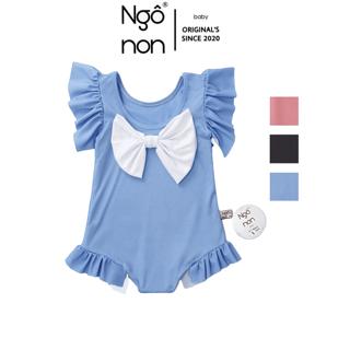Bộ đồ bơi bikini liền thân đính nơ xinh xắn cho bé gái Ngô Non( B0001)