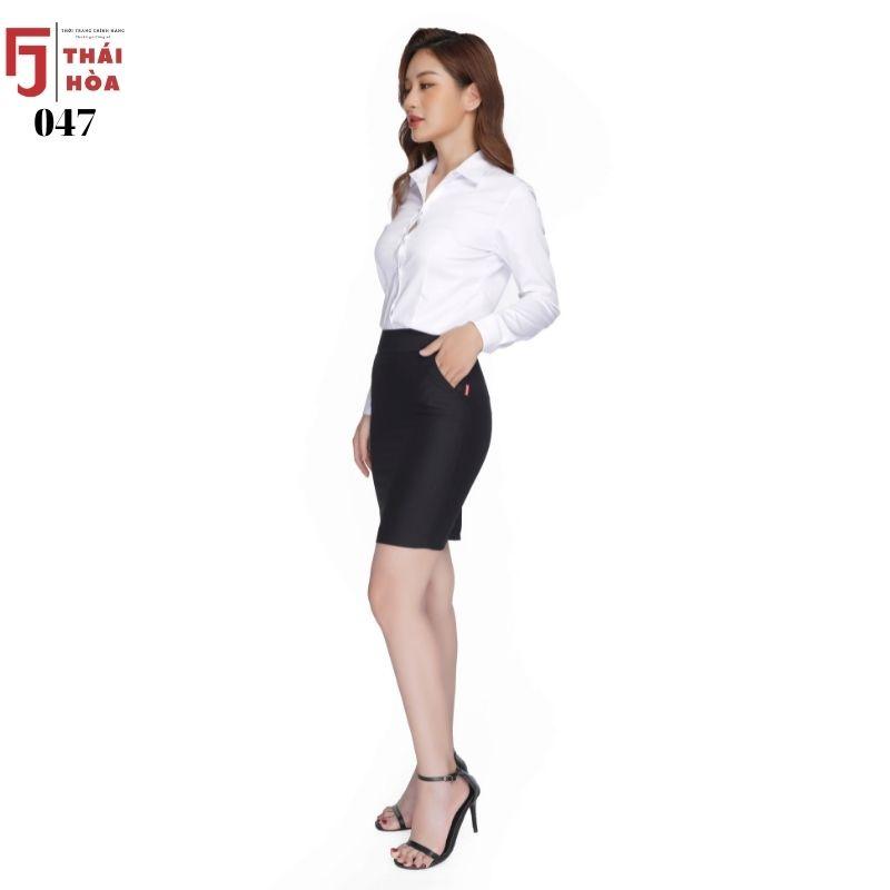 Mặc gì đẹp: Xinh tươi với Áo sơ mi nữ trắng đẹp dài tay màu trắng vải cotton mềm thoáng mát thai hoa 047-01-01