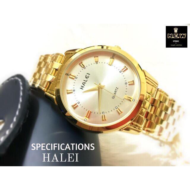 đồng hồ nam halei HL06 dây vàng mặt trắng chống nước chống xước,tặng kèm vòng tì hưu