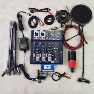Combo livestream thu âm mic PC K320 và Mixer F4 , đầy đủ phụ kiện