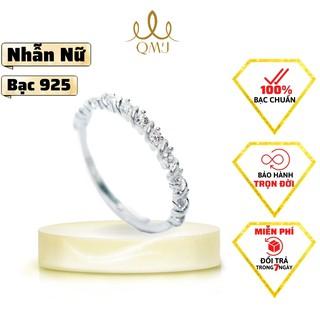 QMJ Nhẫn bạc Tiểu Thư xinh xắn, nạm đá tấm thiết kế tinh tế -Q300 thumbnail