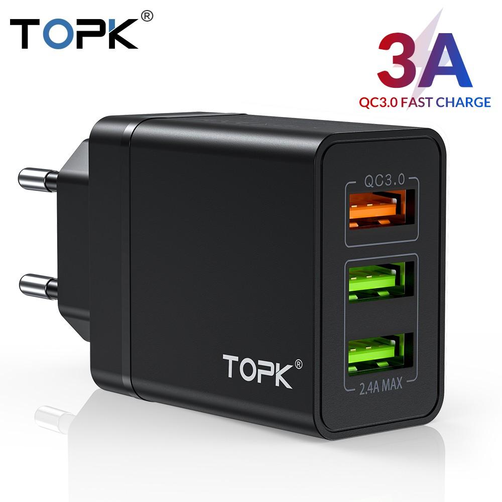 Cốc Sạc Nhanh TOPK B348Q 3 Cổng USB 3.0 Tiện Dụng Chất Lượng Cao