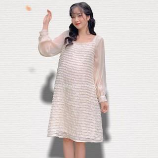 MEDYLA - Váy bầu công sở 2 lớp tơ lót lụa cho bầu tự tin đi chơi, đi làm - VS370 thumbnail
