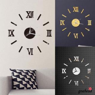 Nhãn dán tráng gương tạo hình đồng hồ treo tường 3D phong cách hiện đại trang trí nhà cửa