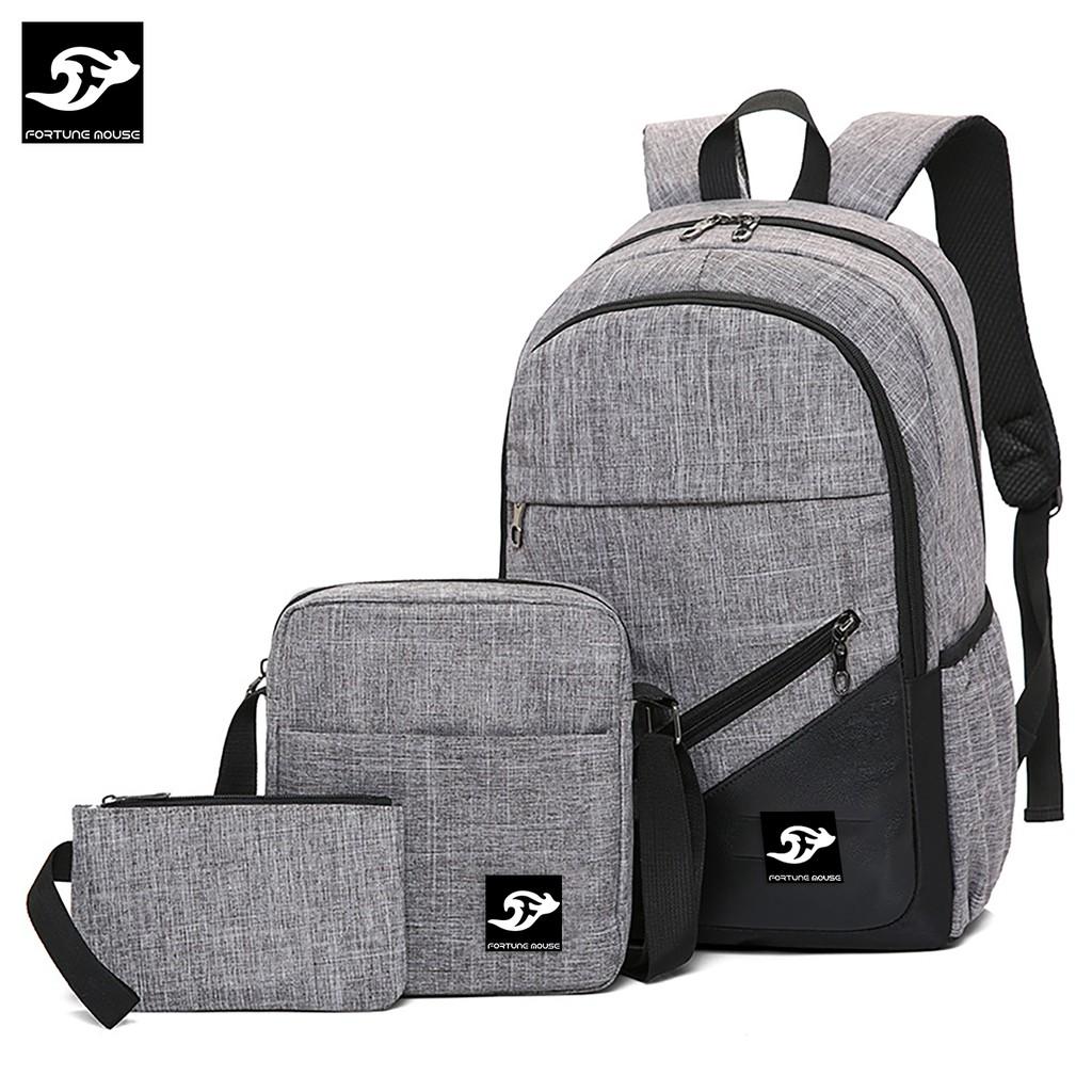 BỘ: BALO Fortune Mouse laptop 16inch đi học, đi làm + Túi đeo chéo ipad + bóp bút B001