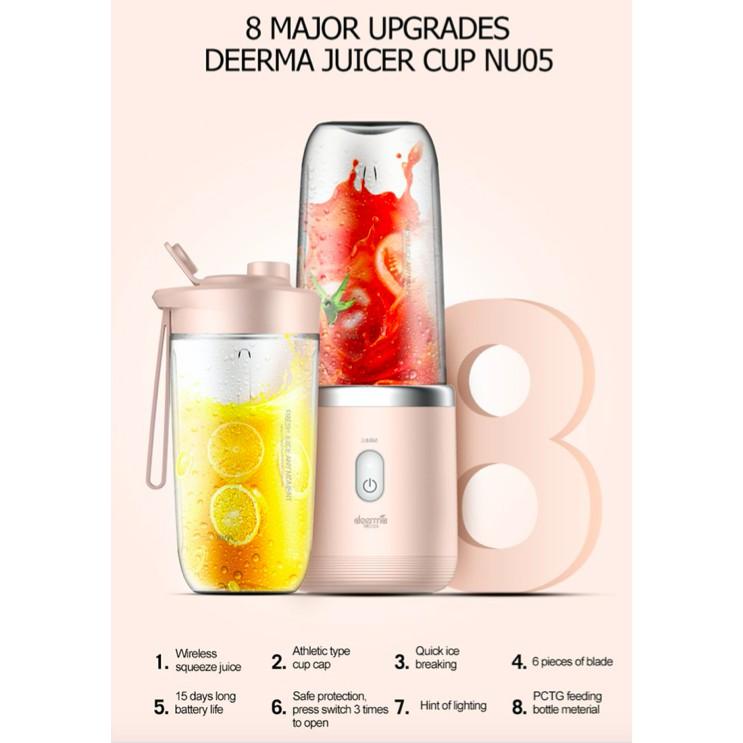 Máy xay sinh tố cầm tay không dây Xiaomi Deerma Mini Juice Blender Tiện Dụng thông minh NU05-Hàng chính hãng