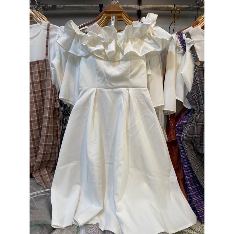 Mặc gì đẹp: Sang chảnh với [Mã 1510FASHIONSALE hoàn 10% xu đơn 99K] Đầm - váy bèo vai trắng dự tiệc 0204