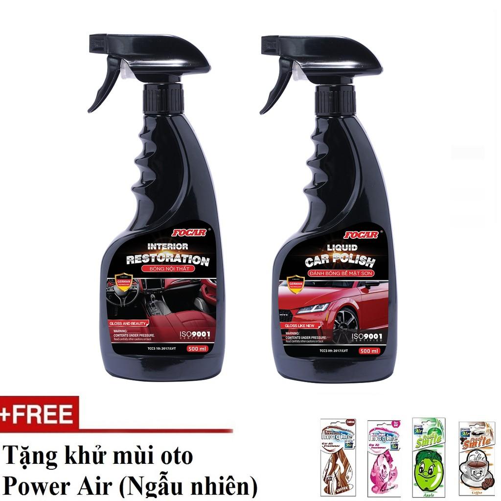 Bộ 2 chai dưỡng bóng nội thất ô tô+ Bóng bề mặt sơn Focar 500ml (Tặng Power Air khử mùi)
