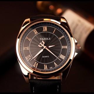 Đồng hồ nam Yazole 336 dây da (Viền vàng)