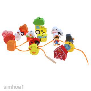 Kids Children Wooden Cartoon Building Blocks Beads Lacing Game Toy