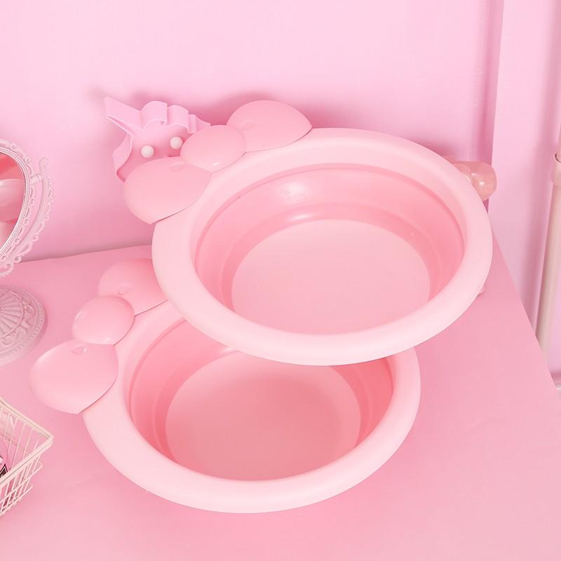 Bow foldable washbasin cute girl dormitory large wash basin baby basin small washbasin children washbasin