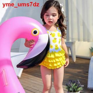 ins Đồ bơi trẻ em cho bé gái dễ thương Hàn Quốc Con vịt nhỏ màu vàng in nhanh khô Mũ áo tắm một mảnh11